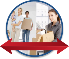 moving arrows directing user for residential or commercial moving sevices